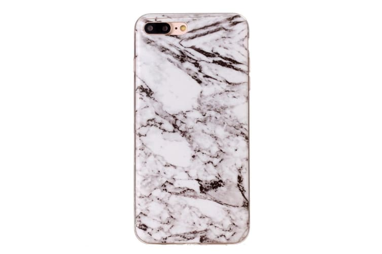 For iPhone 8 PLUS 7 PLUS Case Stylish Marbled Grippy Protective Cover White