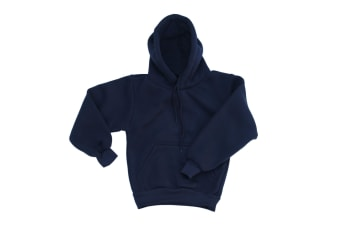 Kids Unisex Basic Pullover Hoodie Jumper School Uniform Plain Casual Sweat Shirt - Navy - Navy