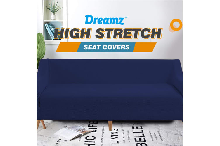 Dreamz Couch Stretch Sofa Lounge Cover Protector Slipcover 4 Seater Navy New