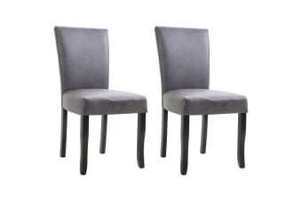 vidaXL Dining Chairs 2 pcs Grey Faux Suede Leather