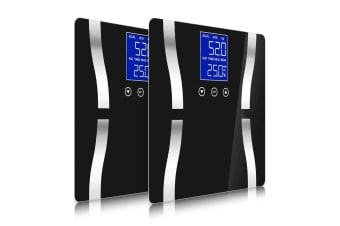 SOGA 2x Digital Body Fat Scale Bathroom Scales Weight Gym Glass Water LCD Electronic Black