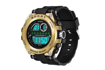 Men'S Watch Fashion Waterproof Multifunctional Student Electronic Watch Gold