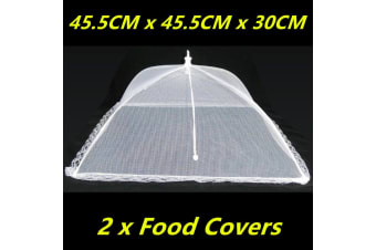 2 x Large Collapsible Mesh Food Covers Dome Pop Up Plate Umbrella Fly Wasp Net