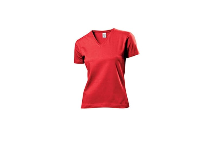 Stedman Womens/Ladies Classic V Neck Tee (Scarlet Red) (2XL)