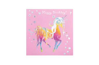 Deckled Edge Prancing Myth Greetings Card (Happy Birthday - Trotting Unicorn (Pink/Rainbow/Silver))