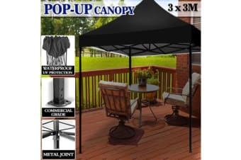 3X3m Pop Up Outdoor Folding Tent Canopy BLACK