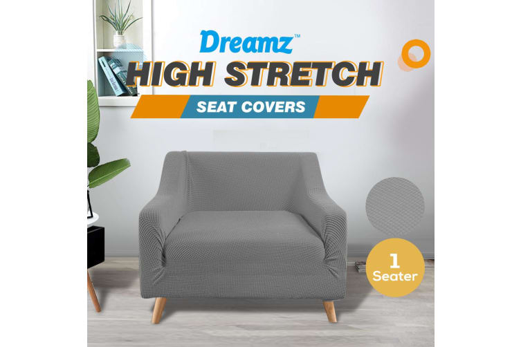 Dreamz Couch Stretch Sofa Lounge Cover Protector Slipcover 1 Seater Grey New