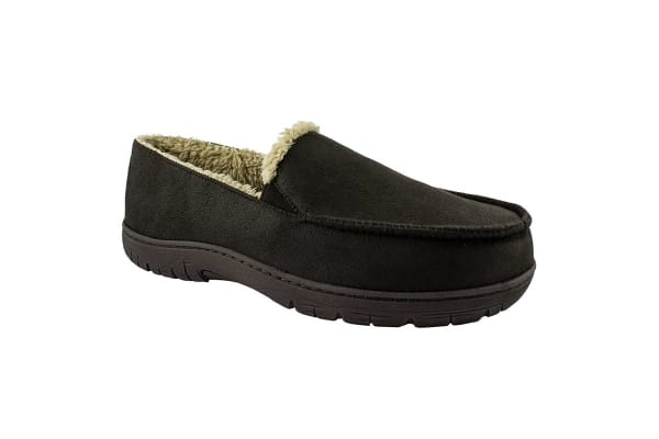 Geoffrey Beene Moccasin Slippers (Brown Micro Suede, Extra Large)