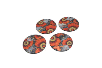 CGB Giftware Poppy Glassware Golden Round Glass Coasters (Set Of 4) (Red/Grey) (One Size)