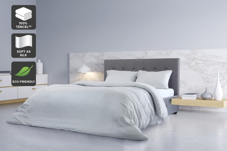 Ovela 100% Tencel™ Quilt Cover Set (Queen, Pale Grey)
