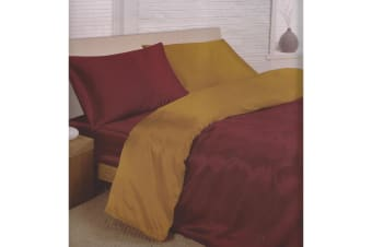 Charisma Satin Reversible Bedding Set (Duvet Cover  Fitted Sheet & Pillowcases) (Burgundy/Gold) (Double)