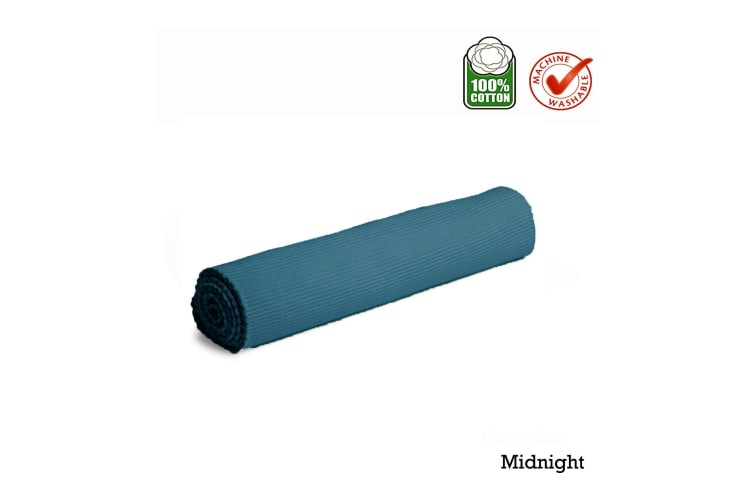 Cotton Ribbed Tabler Runner Midnight by IDC Homewares