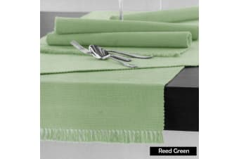 Cotton Ribbed Table Runner 45cm x 150cm - REED GREEN