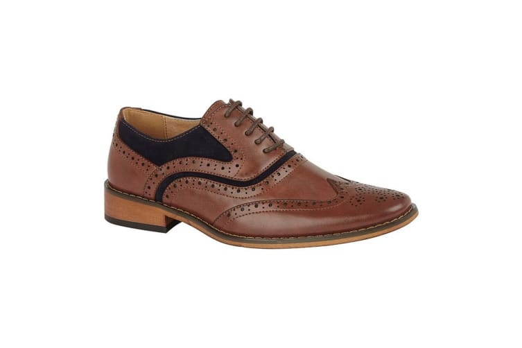 Goor Childrens/Boys Leather 5 Eye Wing Capped Brogue Oxford Shoe (Dark Tan/Navy) (5 UK)