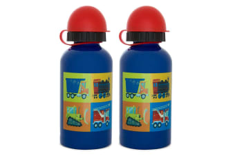 2PK Crocodile Creek Vehicles 400ml Drink Bottle/Kids Child 3y+ Water Blue