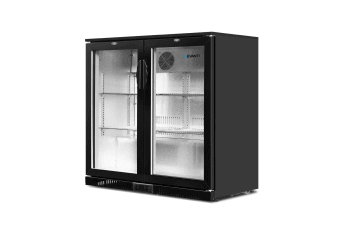 Devanti Bar Fridge 2 Glass Door Mini Freezer Small Wine Beverage Commercial