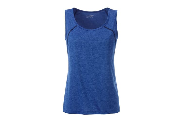James and Nicholson Womens/Ladies Sports Tank Top (Blue Melange/Navy) (M)