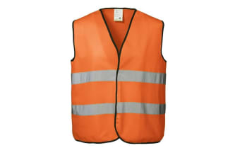 ID Unisex Hi Visibility Fluorescent Loose Fitting Worker Vest (Fluorescent orange) (L/XL)