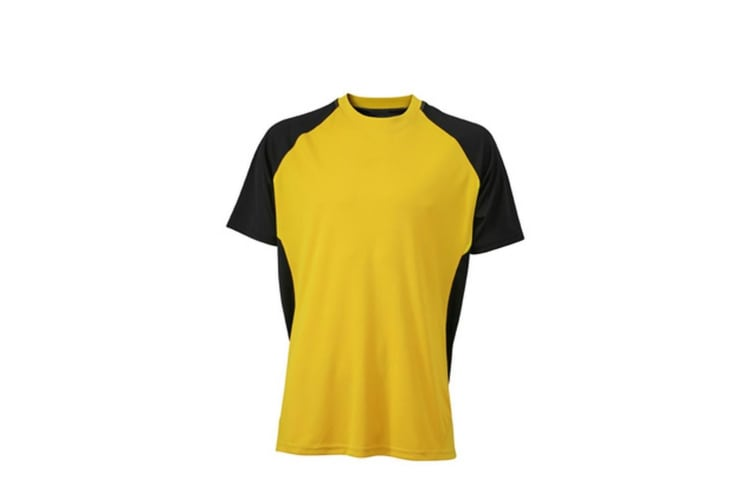 James and Nicholson Unisex Competition Team Shirt (Yellow/Black) (M)