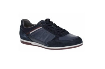 Geox Mens Renan Leather Trainer (Navy)