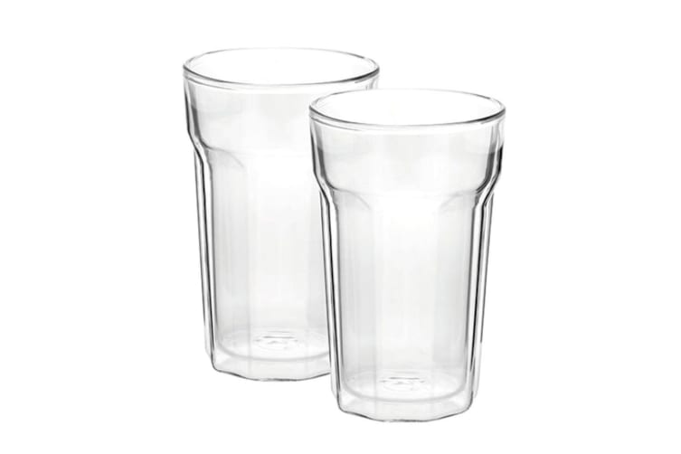 8PC Avanti 375ml Nove Twin Wall Glass f  Beer Juice Water Hot Cold Drink Tumbler