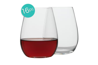16pc Ecology Otto European 460ml Clear Stemless Red White Wine Glasses Set