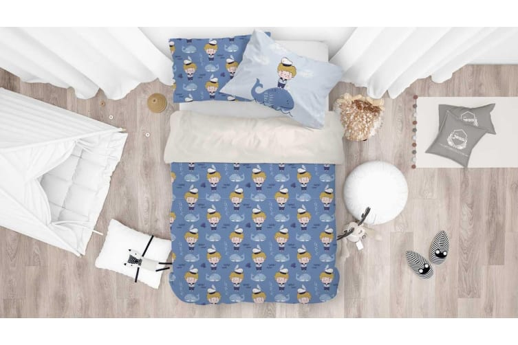 3D Cartoon Boy Dolphin Quilt Cover Set Bedding Set Pillowcases 91-Double