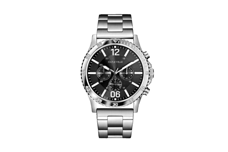 Caravelle Men's 44mm Analog Quartz Chronograph Watch with Fold-over Buckle - Stainless Steel/Black (43A144)