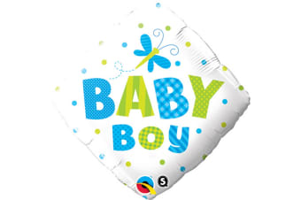 Qualatex 18 Inch Baby Boy/Girl Dragonfly/Butterfly Diamond Shaped Foil Balloon (White/Blue/Green) (One Size)