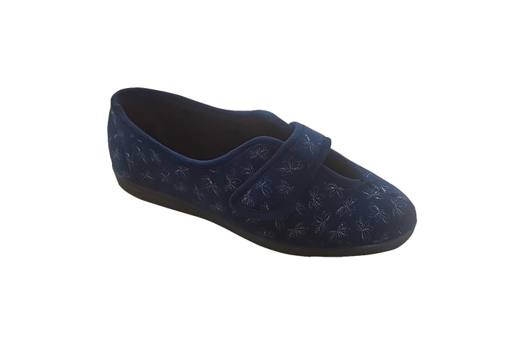 Sleepers Womens/Ladies Ivy Floral V Throat Touch Fastening Slippers (Navy Blue) (6 UK)