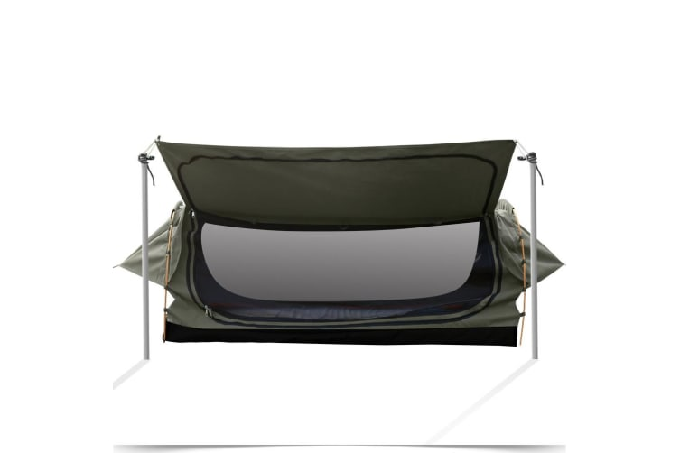 Mountview Camping Swags Canvas Free Standing Swag Dome Tents Kings Double Grey