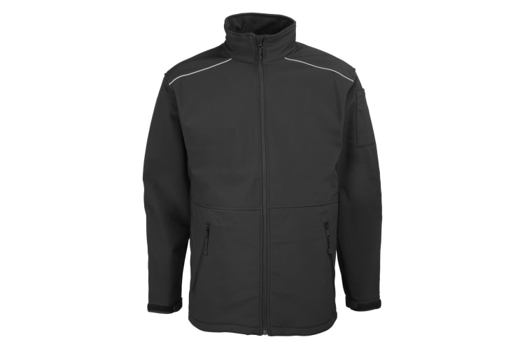RTY Workwear Mens Softshell Workwear Jacket (Windproof & Water Resistant) (Black) (S)