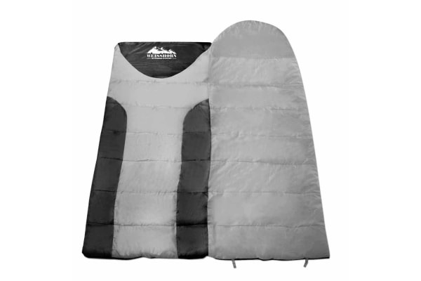 Camping Double Sleeping Bag -15 to 10 (Grey/Black)