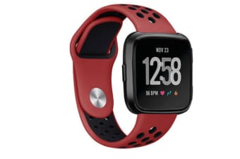 Silicone Sport Band With Ventilation Holes Replacement Straps For Fitbit Versa Smartwatch Red Black