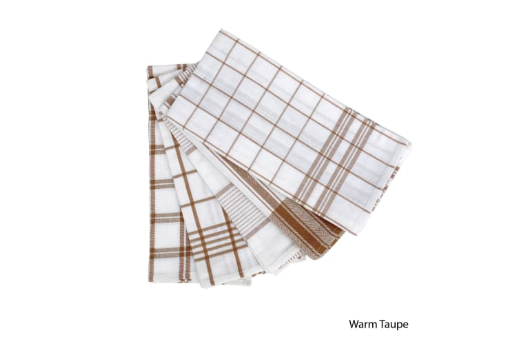 Set of 5 Checkered Cotton Tea Towels Warm Taupe by IDC Homewares