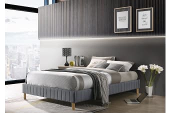 Contemplorary Platform Bed Base Fabric Frame with Timber Slat Double Light Grey