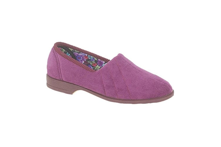 Sleepers Womens/Ladies Audrey III Roll Top Velour Slippers (Plum/Heather) (7 UK)