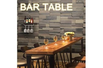Vintage Industrial Solid Wood Bar Table with Steel Legs