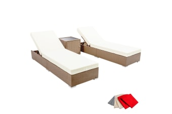 3 Piece Wicker Rattan 2 Seater Outdoor Lounge Set (Beige/Brown)