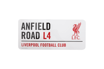 Liverpool FC Official Anfield Road Football Crest Street Sign (White/Black/Red)