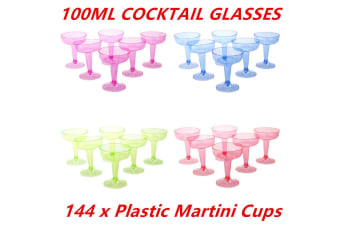 144 x COLORED 100 ML DISPOSABLE PARTY PLASTIC COCKTAIL MARTINI GLASS CUPS WEDDING