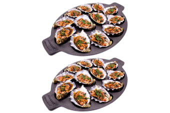 2x Integra Forte 35.5cm Cast Iron Dozen Oysters Seafood Shell Grill Plate Pan