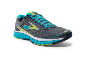 Brooks Women's Ghost 9 (Silver/Blue Atoll/Lime, Size 8)