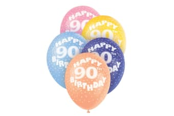 Unique Party 12 Inch 90th Birthday Balloon (Pack Of 5) (Multicoloured)