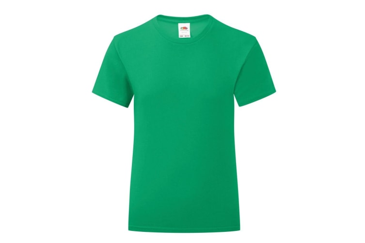 Fruit Of The Loom Girls Iconic T-Shirt (Kelly Green) (14-15 Years)