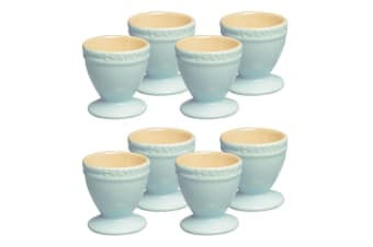 8pc Chasseur La Cuisson Boiled Egg Cup Set Stand Holder Storage Duck Egg Blue