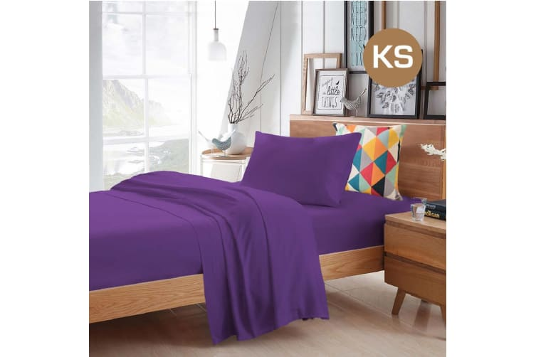 King Single Size Purple Color Poly Cotton Fitted Sheet Flat Sheet Pillowcase Sheet Set