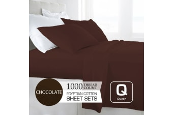 Queen Size Chocolate 1000TC Egyptian Cotton Sheet Set