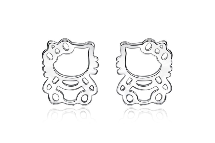 .925 Hello Kitty Stud Earrings-Silver