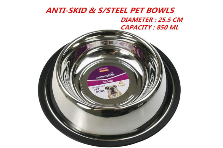 12 x 850ml 25.5cm Anti-Skid Stainless Steel Pet Dog Cat Puppy Water Food Feeder Bowl Dish Stand